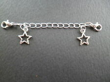 SILVER CLIP ON WITH STARS SAFETY EXTENDER CHAIN FOR BRACELET & NECKLACE