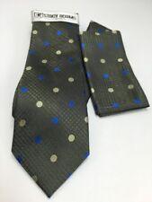 Stacy Adams Men's Tie & Hanky Set Dark Green, Royal Blue Beige 100% Microfiber
