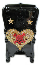 BLACK HEART SKULL GOTHIC BLACK PLASTIC DRESSING TABLE COTTON WOOL DISPENSAR BOX