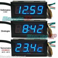 3in1 VOLTMETRO TERMOMETRO OROLOGIO da pannello LED BLU 0-33V DS18B20 auto camper