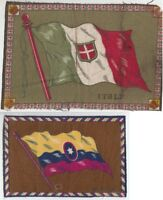 [42658] SET OF 2 OLD TOBACCO FELTS FLAGS OF COLUMBIA & ITALY