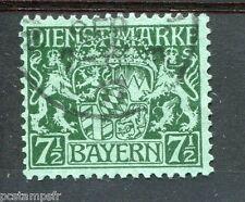 ALLEMAGNE BAVIERE, 1916-18, timbre de SERVICE18, ARMOIRIES, oblitéré