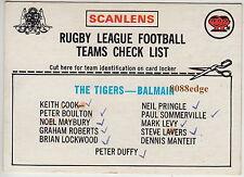 1976 SCANLENS RUGBY LEAGUE TEAM CHECKLIST CARD: BALMAIN TIGERS - GOOD CONDITION