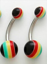 "Pair 14g 7/16"" Rasta Mon Reggae Navel Belly Button Ring Black Red Yellow Green"