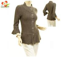 Women Ruffle Trim Wool Angora Peplum Sweater Jacket Cardigan Blouse Coat Top
