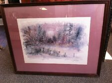 Impressionism Watercolor Print Vintage Signed Framed and Matted Under Glass