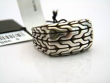 John Hardy Mens Classic Chain XL Silver Signet Ring w/ Black Oxidation 10.25 NWT