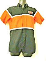 Vtg Harley Davidson Short Sleeve Wearguard Button Down Mens S Black Orange Shirt