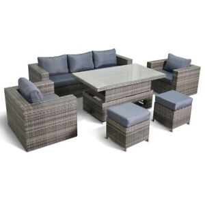 Layla Grey Garden Sofa With Rising Table Armchairs and Stools Set