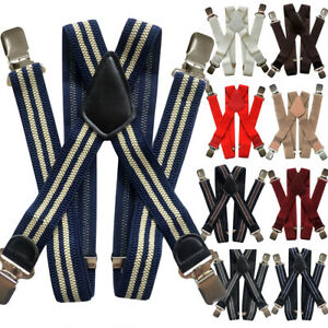 Mens 40mm Wide High Elastic Suspenders Leather Braces Trousers Solid Color Strip