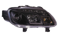 For VW Touran 03-06 Caddy 04-11 LED DRL Black Projector Headlights Lamp