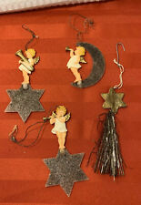 Gold Dresden Embossed Shooting Star Tinsel Instruments Angel Moon Mica RARE HTF