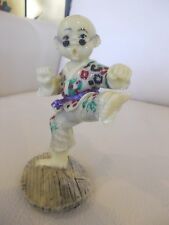 Kung Fu Fighter, Resin, Young Boy W/Foot Extended, Wearing Uniform, Glasses, EUC