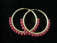 """HOOP EARRINGS WITH DESIGNS & RUBY RED ROUNDS AROUND 1 1/2"""" IN SIZE GOLD PLATED"""