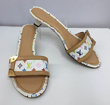 LOUIS VUITTON SHOES MULES WHITE WITH MULTI COLOR LOGOS TAN & GOLD TRIM SIZE 36