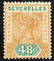 Seychelles 1890 ochre/green 48c crown CA Die I mint SG7