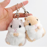 Cartoon Soft Plush Hamster Toy Doll Key Chain Keyring Stuffed Mouse Toy Bag aa