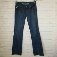 Guess Womens Jeans Size 29 Bootcut Mid Rise Medium Dark Wash Stretch Embroidered