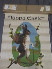"Brand New Pottery Barn ""Vintage Bunny Happy Easter Flag"" Hanging Indoor Outdoor"
