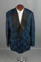Vtg Men's 1960s 1970s Blue Black Brocade Tux Jacket L Long 60s 70s Floral #6449