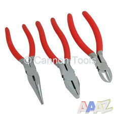 3PC PLIER SET COMBINATION LONG NOSE SIDE CUTTER WIRE CUTTING PLIERS