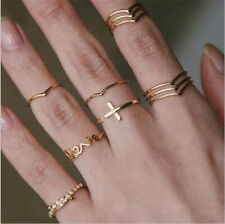 11Pcs/Set Vintage Gold Boho Cross Crystal Midi Finger Knuckle Rings Jewelry Gift
