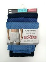 Mens 3 Pack Cotton Boxers Button Fly Fastening Blues NEW Ex M&S RRP £18