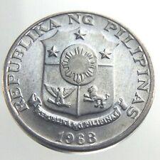 1968 Philippines One 1 Sentimo KM 196 Shield of Arms Lapulapu Coin U107