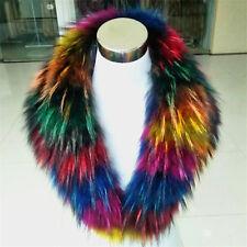 Brand Women&Men Real Colorful Raccoon Fur Collar Scarf/Shawl/Wrap Neck Warmer US