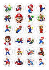 24 Mario Super Bros Iced / Icing Cupcake Topper Edible Fairy Cake Bun Toppers