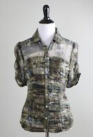 WORTH New York $398 Shirred Semi Sheer Trim Lined Silk Shirt Top Size 4