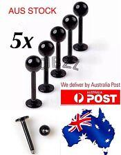 5x Labret Tragus Ball Stud Lip Eye Chin Body Piercing Bar Steel 16g BLACK