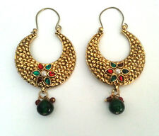 INDIAN SKIRT SUIT JEWELRY ANTIQUE_STYLE_FINISH PEARL KUNDAN HOOP EARRINGS #176