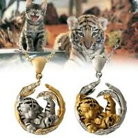 Animal Tiger Pendant Necklaces For Women Natural Animal Charm Necklace F0W7