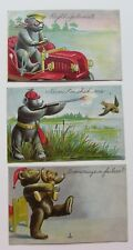 3 Antique Teddy Bear Series Postcards Diecut Car Hunting Dad & Baby Bears