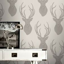 Marrón topo Stag Wallpaper con cuentas efecto de brillo neutral Stags Cabeza 273700