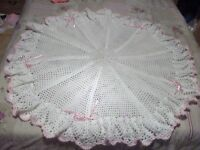 hand made crotchet Shawl/blanket for baby/reborn. Romany gift/Christmas Gift.