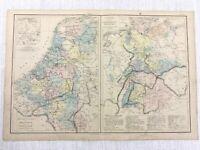 1877 Antik Map Of Deutschland Belgien Holland Hand- Farbig 19th Jahrhundert