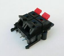 Speaker terminal wire connector block for stereo amplifier cabinet square cutout