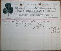 Clover Creamery 1888 Dairy Letterhead w/Color Vignette - Meadville, PA Penn