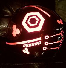 TRON STYLE HELMET STICKERS REFLECTIVE DECALS BE SEEN HI VIZ MOTORCYCLE HEXAGON R