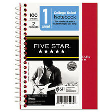 """Five Star Wirebound Notebook, College Rule, 5 x 7, White, 100 Sheets/Pad"""