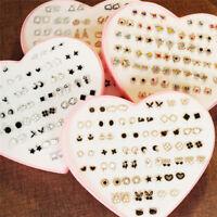 36Pairs Women Girls Crystal Diamante Flower Ear Studs Earrings Jewelry Set Gift0