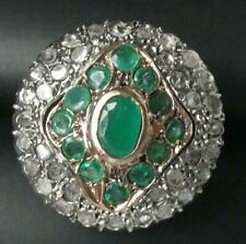 HUGE Victorian 10k Gold Handmade Emerald Rose Cut Diamond Dome Princess Ring