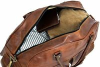 """Men's Brown Genuine Goat Leather 16"""" Travel Luggage Duffle Gym Overnight Bag New"""