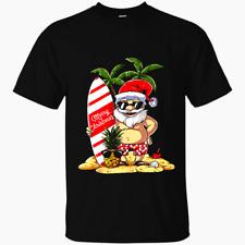 Christmas In July Santa Surf Hawaiian Men Summer Surfing Black Men T-Shirt