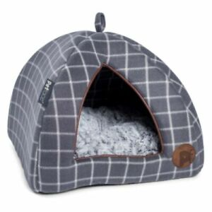Cat / Kitten Igloo Bed, Grey Check With Reversible Inner Faux Fur Pad By Petface