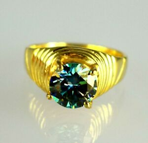 4.68 Ct.  Blue Diamond  Solitaire Gold Finish Men's Proposal Ring