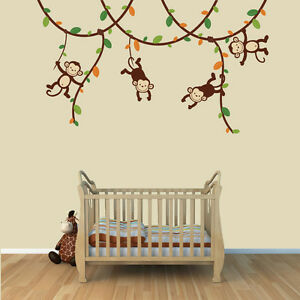 Monkey Vine Wall Decals, Jungle Stickers, Boys Room Decor and Art, Monkey