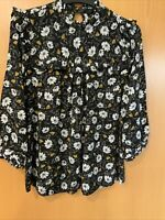 PRIMARK ladies Size 8 Black Floral Blouse With Frilled Neck